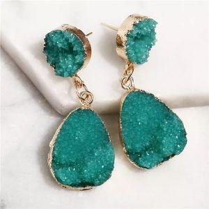 3/$23 Crystal Drop Earrings in Green